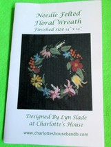 Needle Felted Floral Wreath Pattern, Lyn Slade Design - $7.91