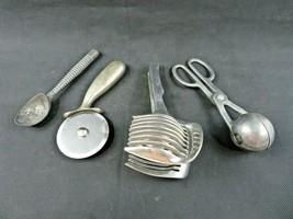 Vintage lot of 4 utensil kitchenware chromed metal Mid Century Modern deco - $28.00