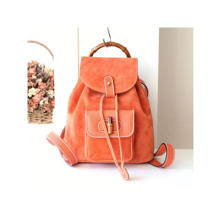 7e08c362b4bc Gucci Backpack Bamboo Orange suede Leather and 50 similar items. Il  fullxfull.1284832062 ewej