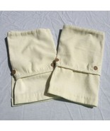 """2 White Corduroy Valances Crosscill 40"""" x 17"""" Brown Buttons - $24.18"""