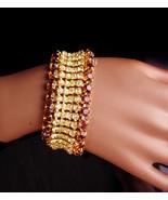 6 row wide vintage rhinestone bracelet - golden topaz and yellow - vinta... - $135.00