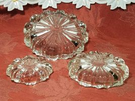 3 Vintage Ashtrays Hazel Atlas Nested Pressed Fluted Clear Glass image 5