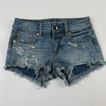 AMERICAN EAGLE Super Super Stretch Shortie Ripped denim jean shorts Size 00 - $10.99