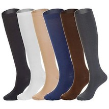6 Pairs Knee High Graduated Compression Socks For Women and Men 15-20mmHg - $24.05