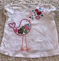 Sonoma Girls White Cap Sleeve Shirt Embroidered Bird Sweet Flowers 18 Mo... - $3.50