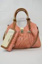 SET of Brahmin Elisa Satchel/Shoulder Bag + Checkbook Wallet in Creamsic... - $529.00