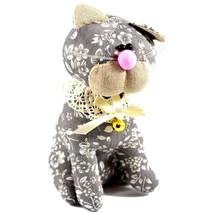 Delton Gray Floral Fabric Kitty Cat Jingle Bell Small Door Stopper Doorstop image 1