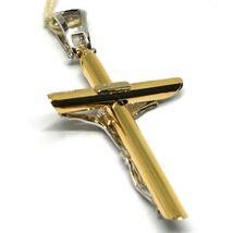 Pendentif Croix or Jaune Blanc 18k, Christ, Tube Travaillé, Pendentif, Jésus image 4