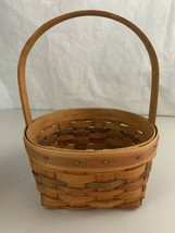"Longaberger Basket 1990 Round With Stationary Handle 9"" Diameter - $19.75"