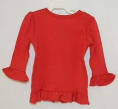 Blanks Boutique Girls Red Long Sleeve Ruffle Tee Shirt Size 12M image 2