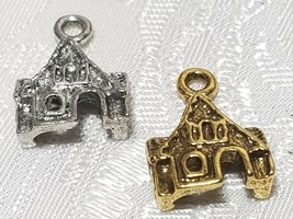 GINGERBREAD HOUSE FINE PEWTER PENDANT CHARM - 12mm L x 17mm W x 5mm D