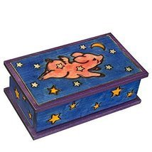 Flying Pig Secret Box Polish Handmade Linden Wood Keepsake Secret Openin... - $41.57