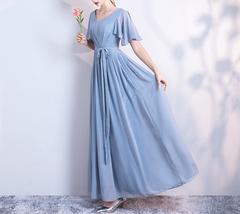 DUSTY BLUE Bridesmaid Dress 2019 Summer Chiffon Dusty Blue Bridesmaid Maxi Dress image 6