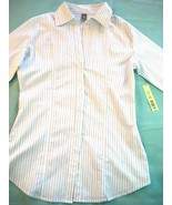 WOMEN COPPER KEY WHITE BROWN STRIPED SHIRT NWT L LARGE - $7.99