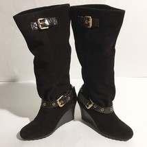 Women's Michael Kors Norma Brown Suede Knee High Wedge Boots Side Zip Sz... - $58.00