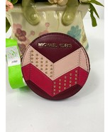 Michael Kors Coin Purse Red Leather Chevron Studded Round Zippered Coin W9 - $68.59