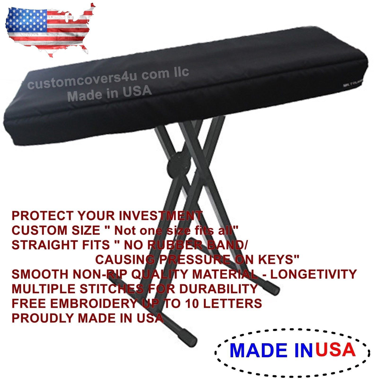 Primary image for Kurzweil PC3K8 PC3K7 PC3K6 KEYBOARD CUSTOM FIT DUST COVER + EMBROIDERY ! USA