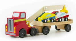 Melissa & Doug Magnetic Car Loader Wooden Toy Set~1 Loader & 4 Race Cars... - $24.26