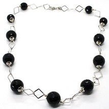 Necklace Silver 925, Onyx Black Faceted, Length 45 cm, Chain Rhombuses image 1