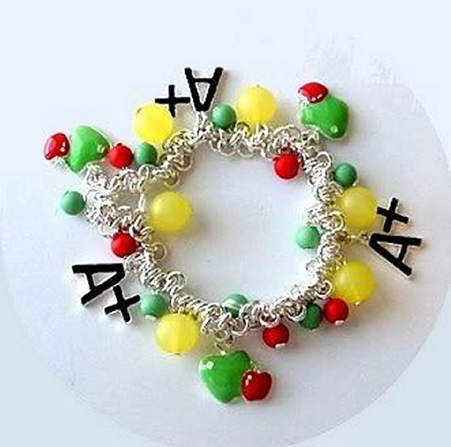 Primary image for School Charm Bracelet Teacher Kids A+ Student Apples