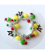 School Charm Bracelet Teacher Kids A+ Student Apples - $5.99