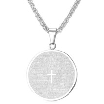 U7 Spanish Bible Cross Necklaces & Pendants Gold Color Stainless Steel Round Hol - $19.62