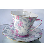 Vintage Grafton China Pink Gray Flower Tea Cup ... - $26.00