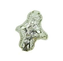 18k Gold Pierced Filigree Deco Ring .10ct Genuine Natural Diamonds (#J4687) - $325.00
