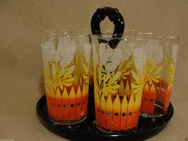 Set of 6 Vintage 1950's Swanky Swigs with Black Glass Greenburg Glass Tray - $48.00