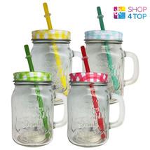 VINTAGE DRINKING GLASS JAR METAL SCREW CAP LID PLASTIC STRAW HANDLE LEMO... - $6.29