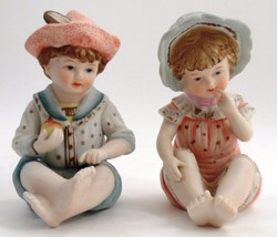 Andrea by Sadek Handpainted Porcelain Bisque Boy & Girl Piano Babies Fig... - $22.23