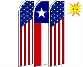 3 Pack Set Texas State & USA #2 Swooper Super Advertising Windless Banner Flag - $48.88