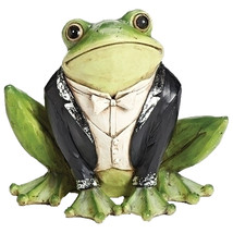 "Tuxedo Frog Tuxedo Animals Garden Statue Statuary Yard Art 8.25"" H - $29.21"