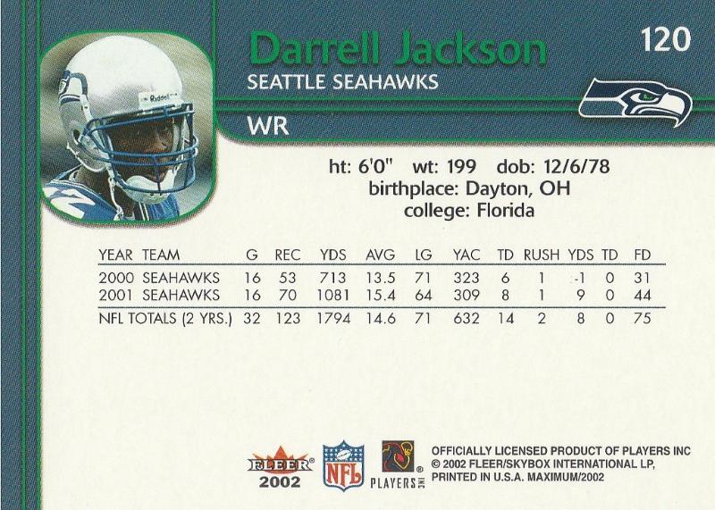 2002 Fleer Maximum #120 Darrell Jackson