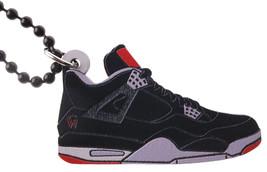 Good Wood NYC Retro Bred 4 Wooden Sneaker Necklace Black/Grey IV Shoe Kicks