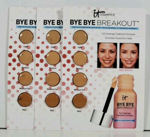 Primary image for 3X IT Cosmetics BYE BYE BREAKOUT Treatment Concealer SAMPLE Travel or Mixing NEW