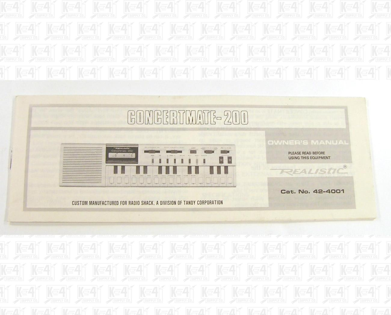 Realistic 42-4001 Concertmate-200 Keyboard Owner's Manual