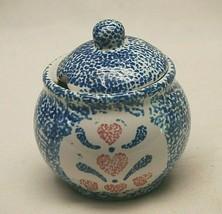 Blue Spongeware Sugar Bowl Lidded Red Heart Designs Unknown Maker - $21.77