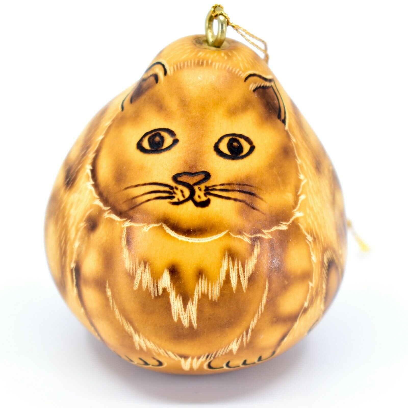 """Handcrafted Carved Gourd Art Cat Kitten Kitty 2.5"""" Ornament Made in Peru"""