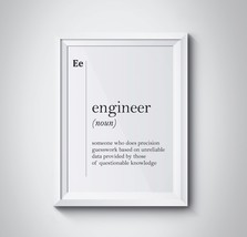 Engineer Gift Engineer Definition Print Coworker Gift New Job Gift Offic... - $4.95