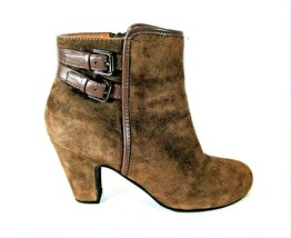 Sofft Brown Suede Zipper Ankle Bootie Heels Shoes Women's 8 M (SW13) - $59.99
