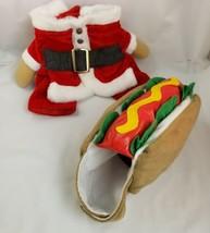 Dog Costume Lot Hot Dog Halloween Christmas Santa Suit XS Coat Williamstown - $10.87