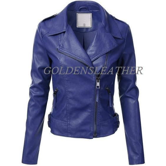 WOMEN BIKER MOTORCYCLE CASUAL SLIM FIT RIDER REAL GENUINE  LEATHER JACKET-A27