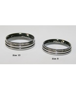 2pc Stainless Steel Matching Couples Ring Set Black/Silver Free Shipping - $45.00