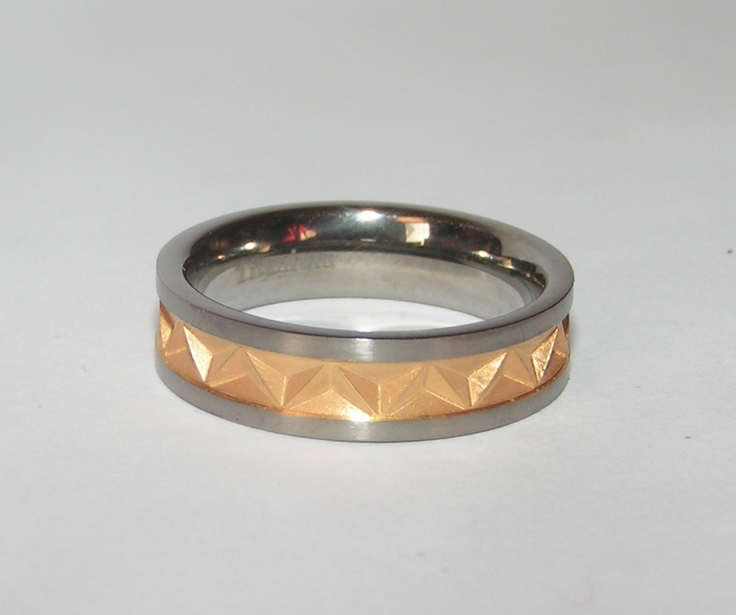 Unisex Two Tone Diamond Cut Titanium Steel Band Ring Free Shipping