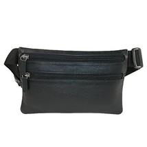 CTM Leather Zippered Pocket Waist Pack, Black