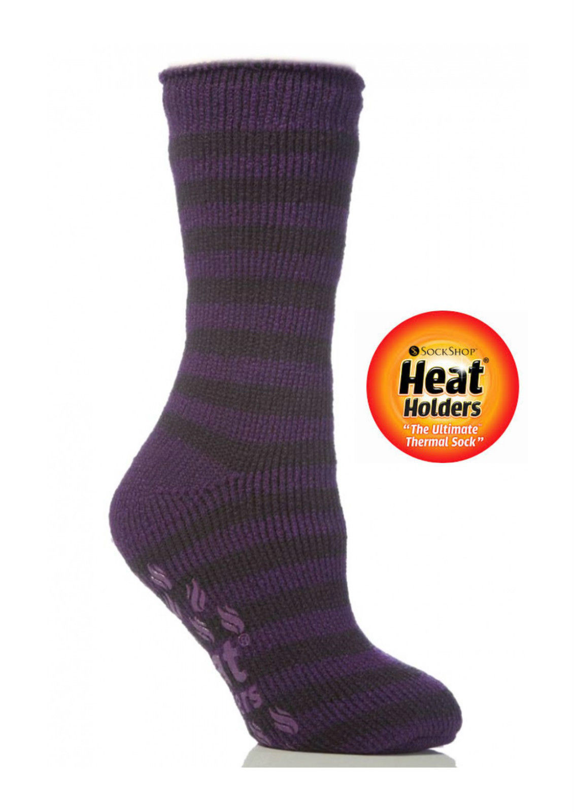 Ladies Striped Heat Holder Slipper Socks Purple Grey 4-8 uk,37-42 eu, 5-9 US
