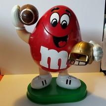 Vintage 1995 M & M's Red Peanut Football Player Gold Helmet Candy Dispenser - $8.56