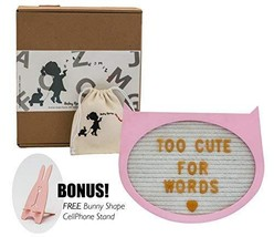 "Felt Letter Board- Pink Cat 10"" x 9""- Baby Milestone Sign & Kids Room Dé... - $31.09"