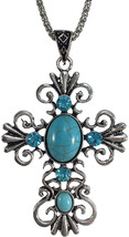 Simulated Turquoise and Rhinestone Silver Tone Open Swirl Cross Necklace... - $72.64